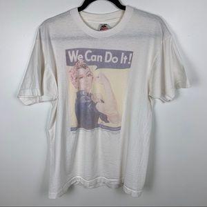 Vtg Rosie the Riveter White T-shirt